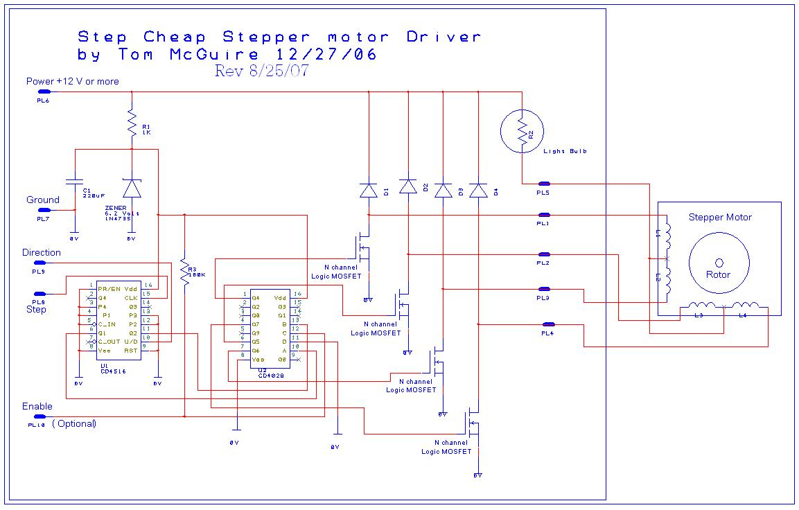Toms easy cnc mill stepper motor driver Step motor driver circuit