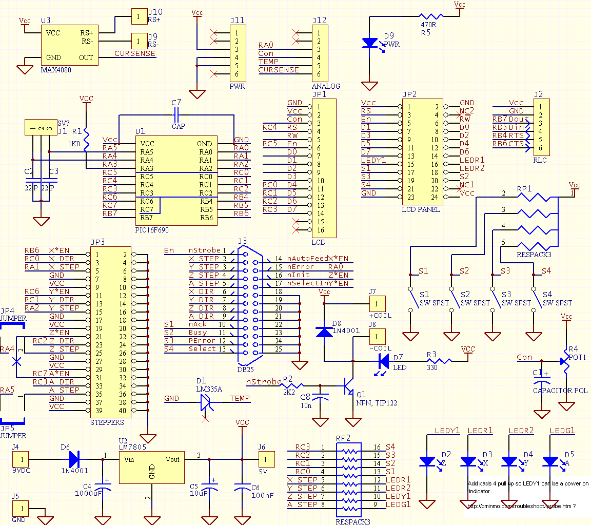 break out board logic power regulator relay driver indicators click schematic for larger version in a new window there is also a google spreadsheet that shows the combination of connections and helps clarify why they